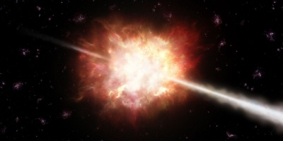 Artist's impression of a gamma-ray burst. Credit: ESO/A. Roquette